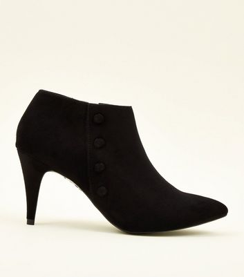 Black Suedette Button Side Shoe Boots New Look