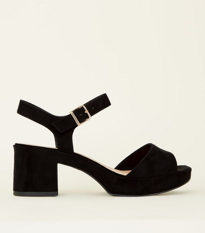8f314c50a1 Wide Fit Black Suedette Platform Peep Toe Sandals | New Look