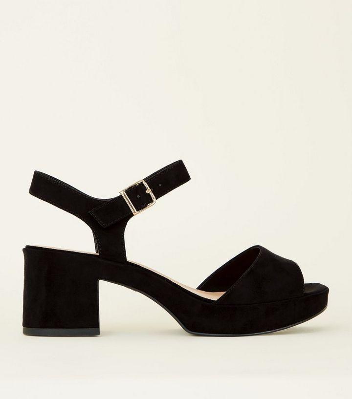 74452c9b15c Wide Fit Black Suedette Platform Peep Toe Sandals