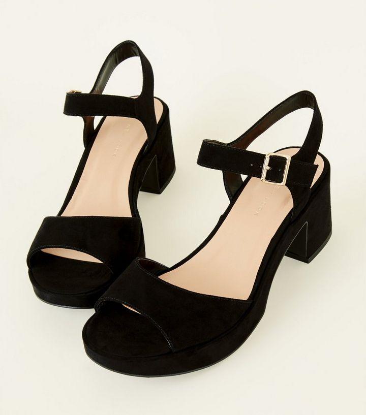b6d92e24c6 ... Wide Fit Black Suedette Platform Peep Toe Sandals. ×. ×. ×. Shop the  look