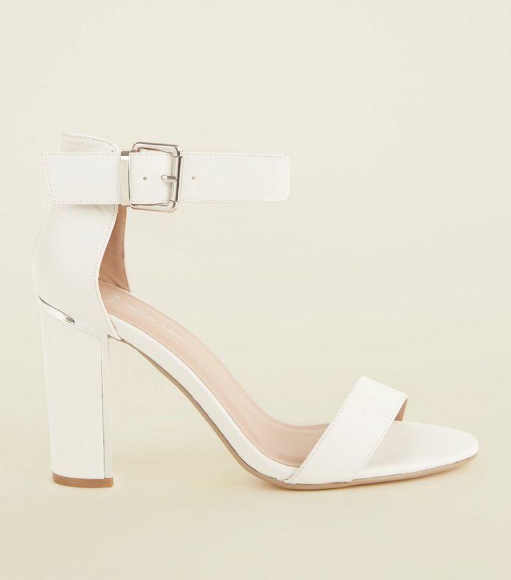 81cdd172be61 Wide Fit White Buckle Strap Metal Trim Block Heels