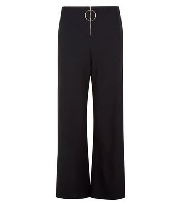 Cameo Rose Black Zip Front Side Split Trousers New Look