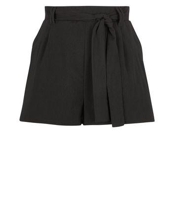 Black High Tie Waist Shorts New Look