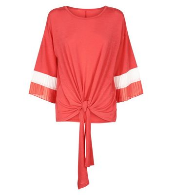 QED Red Tie Front Pleated Sleeve Top New Look