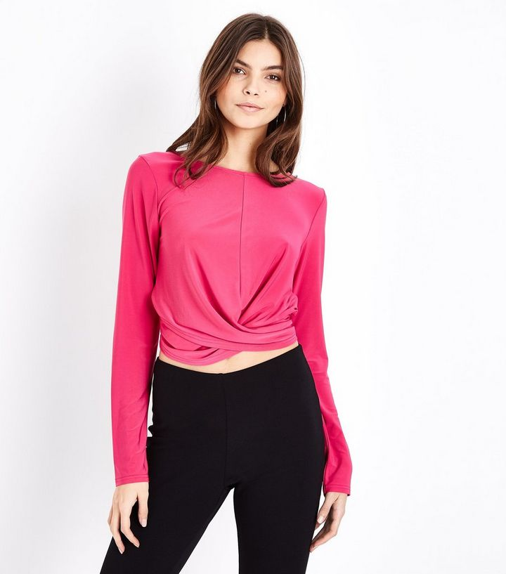 52b3ebcb511d04 Cameo Rose Bright Pink Twist Front Crop Top