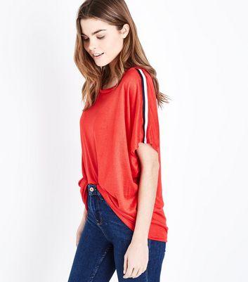 QED Red Stripe Sleeve Top New Look