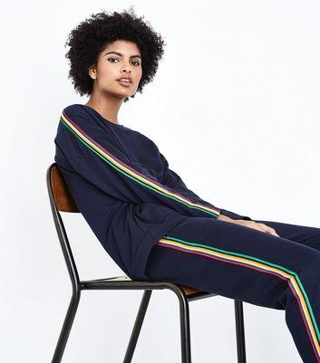 QED Navy Rainbow Side Stripe Sweatshirt New Look