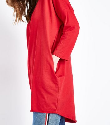 QED Red Long Sleeve Tunic Top New Look