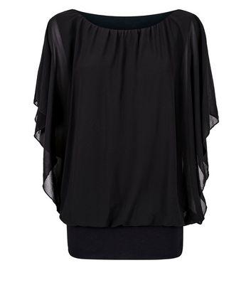 QED Black Angel Sleeve Top New Look