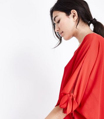 QED Red Tie Sleeve Oversized Top New Look