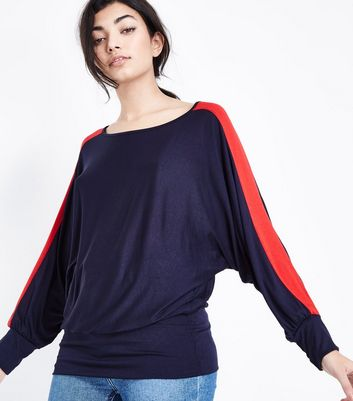 QED Navy Stripe Batwing Top New Look