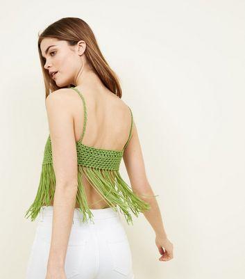 QED Green Crochet Fringe Trim Bralette New Look