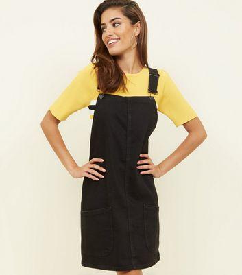 58cc8e6796da3 Tall Black Denim Pinafore Dress | New Look