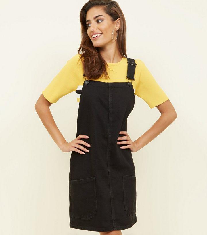 330f7a2221d Tall Black Denim Pinafore Dress