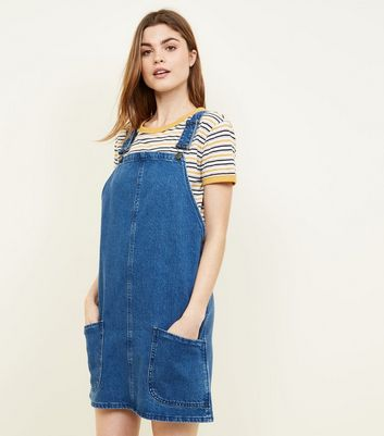 Tall Blue Mid Wash Denim Pinafore Dress