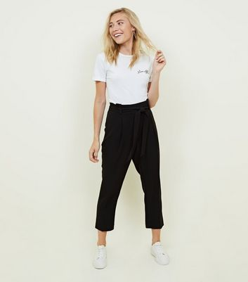 Petite Black Paperbag Waist Tapered Trousers