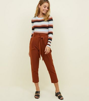 Petite Rust Paperbag Waist Tapered Trousers
