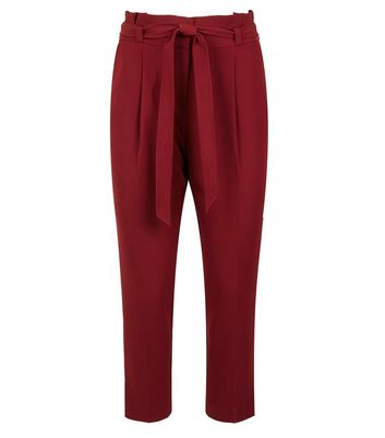 Petite Burgundy Belted Paperbag Waist Trousers New Look