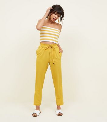 Mustard Yellow Shirred Waist Joggers