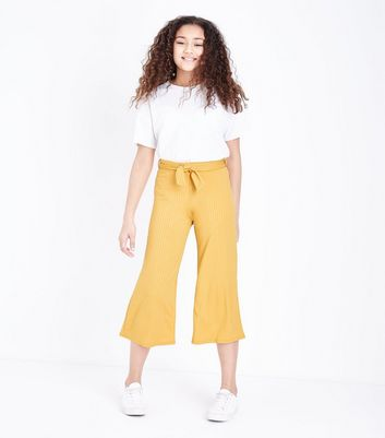 Girls Mustard Ribbed Culottes