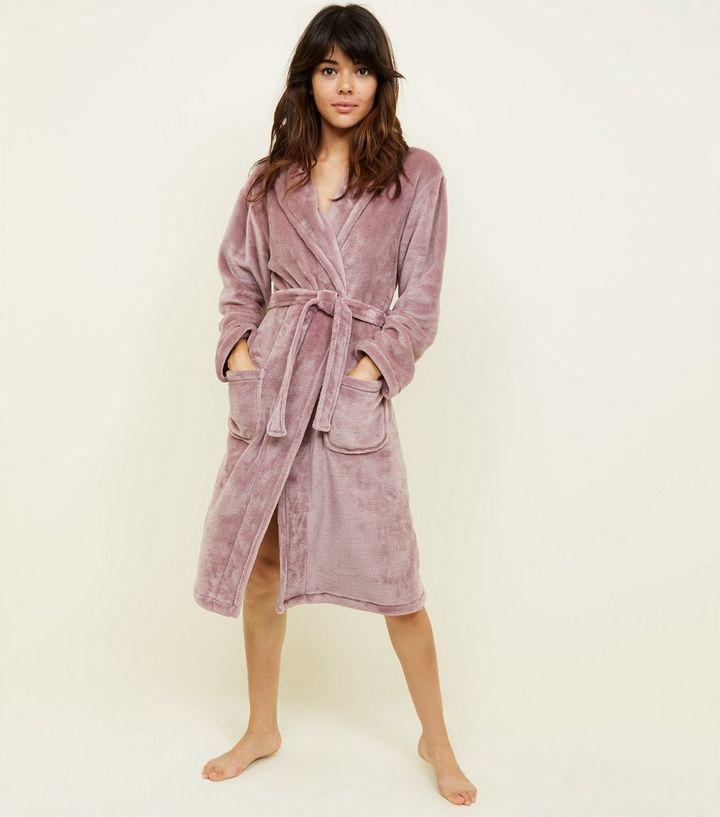 Light Purple Fluffy Longline Dressing Gown | New Look