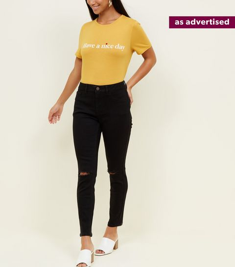 bba5d58e4a5a3 ... Petite Black Skinny Ripped Knee Jenna Jeans ...