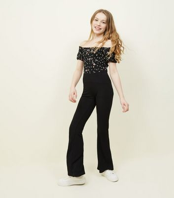 Girls Black Ribbed Flared Trousers