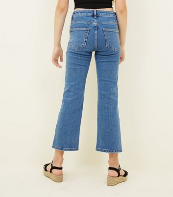 Teens Pale Blue Cropped Kick Flare Jeans New Look