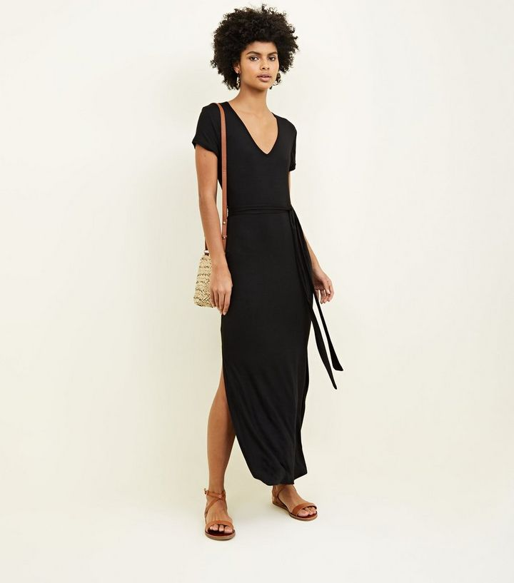 f52e6e0fee7fb Black V-Neck Jersey Maxi Dress | New Look