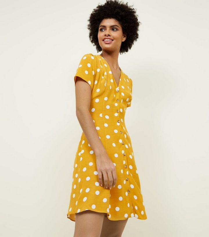 eb9f1ac4d6 Yellow Polka Dot Tea Dress