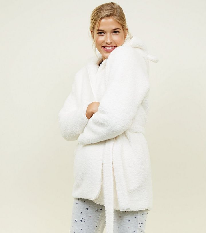 Cream Teddy Faux Fur Hooded Ears Dressing Gown | New Look