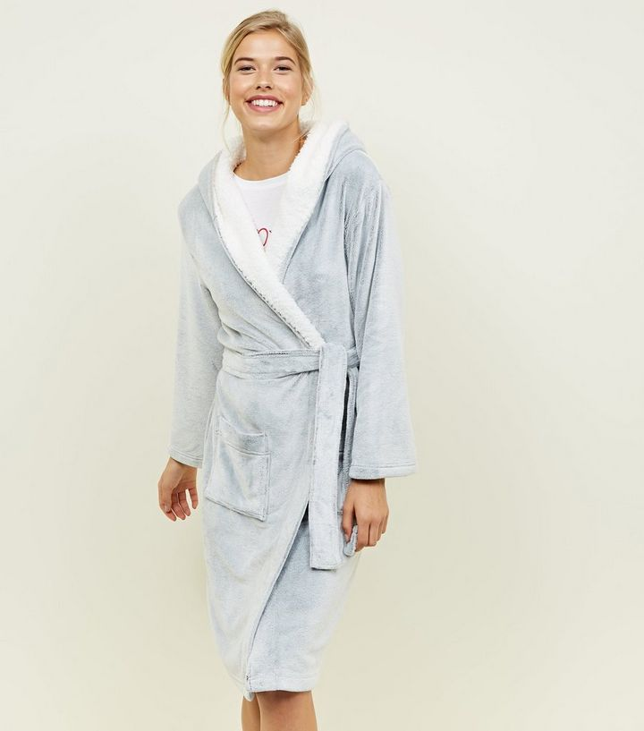 Pale Grey Hooded Borg Trim Dressing Gown  9e3a934bb