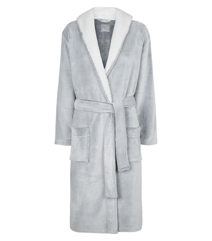 Pale Grey Hooded Borg Trim Dressing Gown | New Look