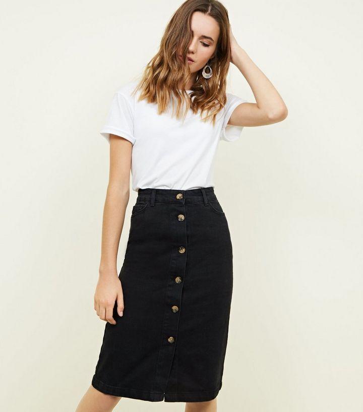 30b412c2f472 Black Denim Button Up Midi Skirt | New Look