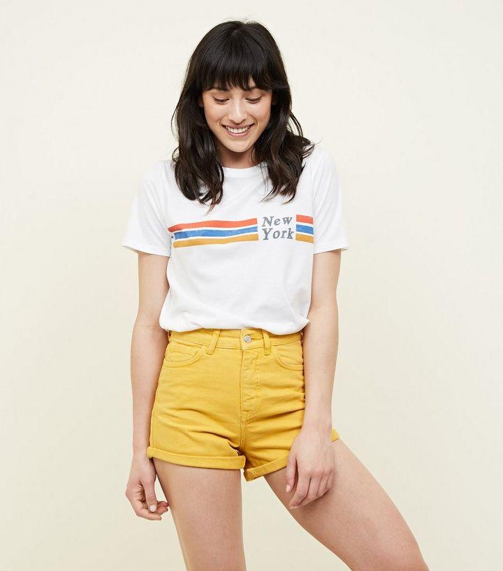695d69deea8bf Short mom jaune en jean à ourlet retroussé | New Look