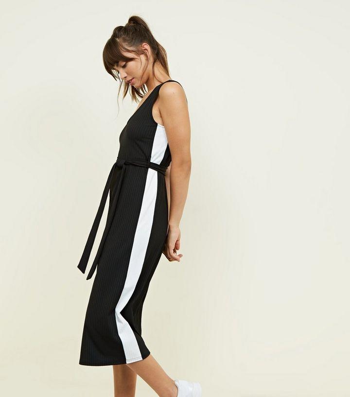 7ae27588ec7 Black Side Stripe Ribbed Jersey Jumpsuit