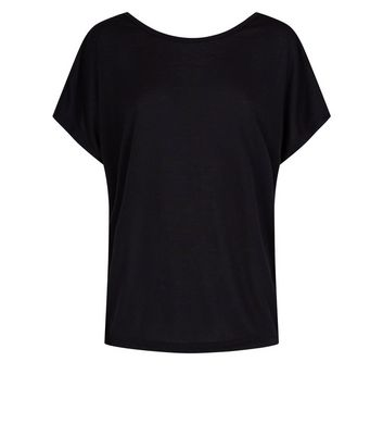 QED Black Knot Open Back Top New Look