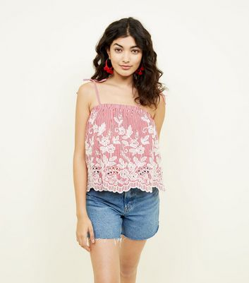 Red Stripe Embroidered Cut Out Cami