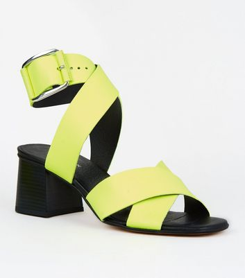 Yellow Premium Neon Leather Cross Strap Sandals