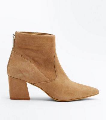 Light Brown Premium Suede Pointed Ankle Boots