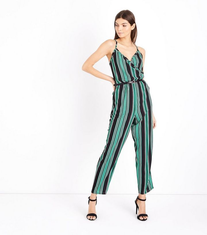 049f71f3237c Cameo Rose Green Stripe Wrap Front Jumpsuit