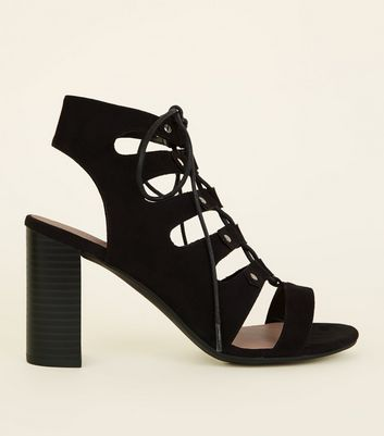 Wide Fit Black Suedette Block Heel Ghillie Sandals