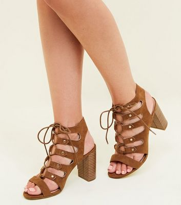 Wide Fit Tan Suedette Block Heel Ghillie Sandals New Look