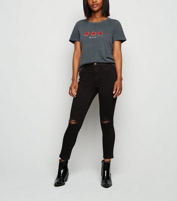 Petite Black 26in Ripped Skinny Jeans