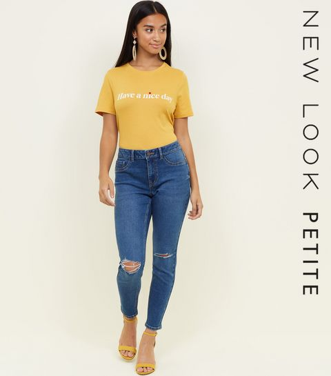 1a4a4d2c7cdf89 ... Petite Blue 26in Ripped Knee Skinny Jeans ...