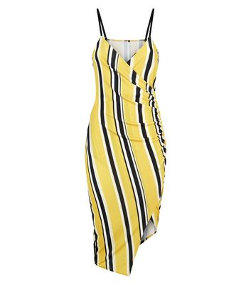 Pink Vanilla Yellow Ruched Side Dress New Look