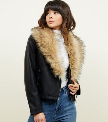 Black Leather-Look Faux Fur Collar Jacket
