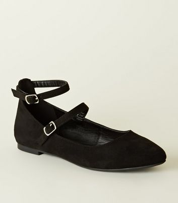 Girls Black Suedette Ankle Strap Mary Janes