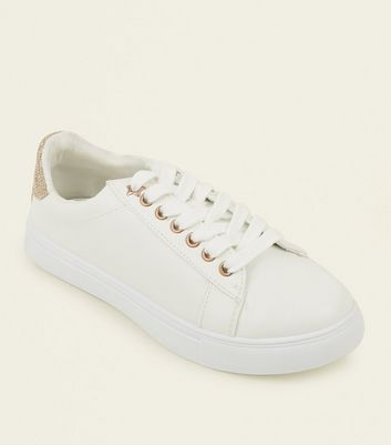Girls White Glitter Back Panel Trainers