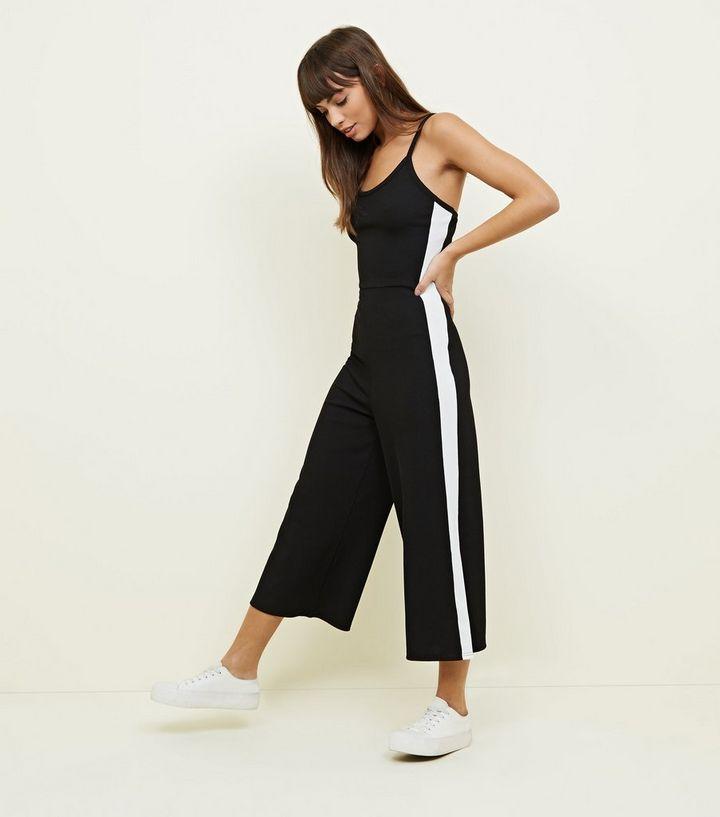 4460c883ecd1 Black Ribbed Side Stripe Jumpsuit